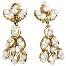 Vintage Earrings 14 Kt Yellow Gold Pearls Drop Retro