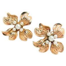 Vintage 14Kt Rose Gold Earrings Pearls Clip and Post 1940s