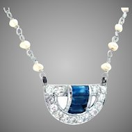 Edwardian Necklace Natural 2 mm. Pearl Platinum Diamond Sapphire