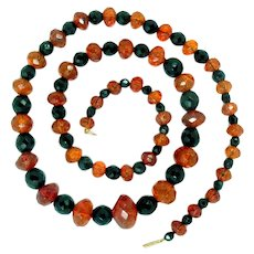 Antique Natural Faceted Amber and Onyx Bead Necklace