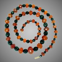 "Natural Baltic Faceted Amber and Black  Onyx Bead Necklace 29.5"" L  Antique"