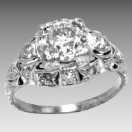 Art Deco Diamond Platinum Engagement Ring .90 Carat H-I Color