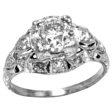 Art Deco Diamond Platinum Engagement Ring 1.05 Carat H-I Color