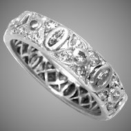 Wedding Band Ring Platinum Diamond Vintage 1930s Ct 0.73
