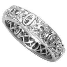 Wedding Band Ring Platinum Diamond Vintage 1930s Ct 0.73