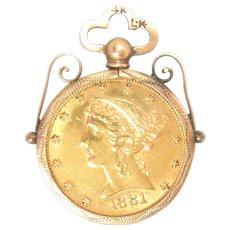 1881 $5 U.S. Coin in 14K Pendant frame Liberty Half Eagle