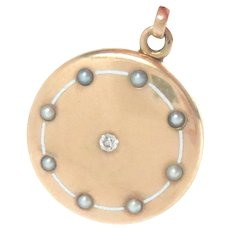 "Art Deco Round Locket 14 Kt. Yellow Gold Enameled Pearl Diamond 1.25"""