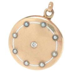 "Locket 14 Kt. Rose Gold Enameled Pearl Diamond 1.25"" Round Edwardian"