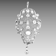 Vintage Art Deco Platinum Diamond Pendant Brooch