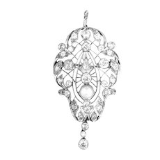 "Art Deco Pendant Brooch Platinum Diamond 2"" L, 2 ctw"