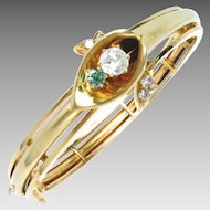 Russian Bangle Bracelet 14 Kt Gold Diamond Vintage