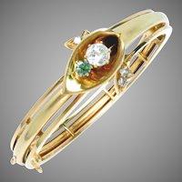 Pre-Revolution Imperial Russian Bangle Bracelet 14 Kt Gold Diamond