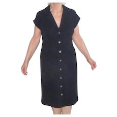 Vintage St. John Black Short Sleeve Button-Down Dress Sz 12