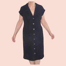 St. John Collection Black Short Sleeve Button-Down Dress Sz 12 Vintage