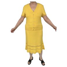 Vintage St. John 2 PC Dress Yellow Sz 12