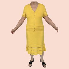 Designer St. John Collection Marie Gray 2 PC Dress Yellow Sz 12