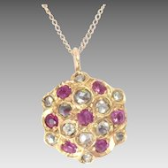 Antique Pendant 14 Kt Yellow Gold Rose Cut Diamond Ruby Edwardian
