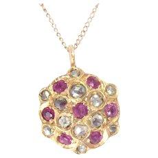 Antique Pendant 14 Kt Yellow Gold Rose Cut Diamond Ruby Edwardian