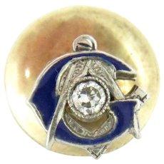 Vintage 14k Gold Mason Lapel Pin Enamel Diamond