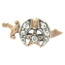 Vintage Shriner 14K Gold Masonic Lapel Pin Diamond Crescent Scimitar