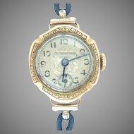 Vintage 18K Yellow Gold Lanco Ladies Wrist watch 14 Kt Gold Attachments