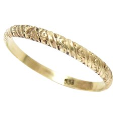 Vintage Wedding Band 8K Yellow Gold. Size 8, 2 mm Wide