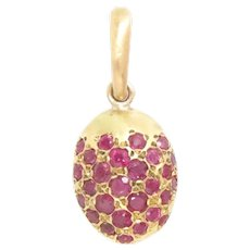 "Vintage Pendant 18K Yellow Gold Ruby Acorn 1-2/8"" L"