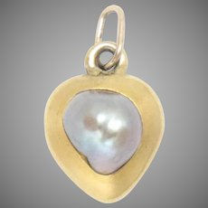 18 Kt Pendant Yellow Gold Art Nouveau Heart Gray Baroque Pearl