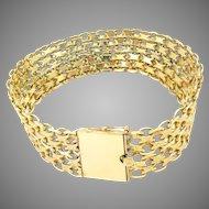 "Vintage Bracelet 14 Kt Yellow Gold Mesh 7.5"" L"