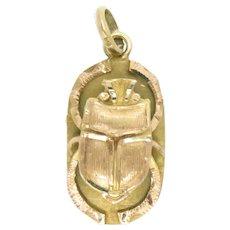 "Vintage Scarab Pendant 18 Kt Gold Egyptian Hieroglyph Cartouche 1"" L. 3.2 grams"