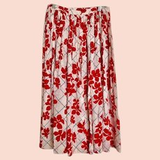 Vintage Skirt Yves Saint Laurent Rive Gauche Red and White Button-Front FR 42