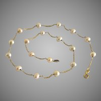 """Vintage 14 Kt Yellow Gold 5-6mm Cultured Pearl Necklace 16.5"""" L"""