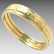 Antique Wedding Ring Band 22 Kt Yellow Gold 8.25, 4mm W