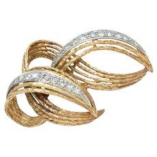 18 Kt Brooch Pin Yellow Gold, Diamonds Mid Century Vintage