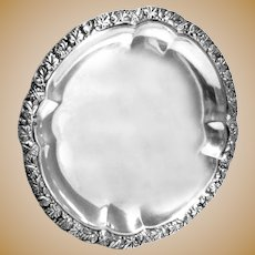 "Round Silver Tray Austrian Antique 7"" diameter 185 grams"