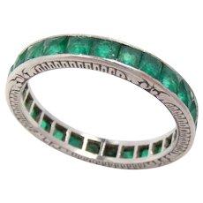 Vintage Wedding Eternity Band Ring Platinum Emerald 6.25, 2.7 mm W