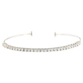 14kt Gold Trendy 1.25 ct Diamonds Flexible Cuff Bracelet