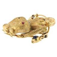 Vintage Multi-gemstone Geisha Brooch