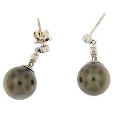Black Pearl and Diamond 14K Dangle Stud Earrings