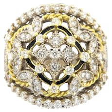 Two Tone 18K Diamond Floral Motiff Vintage Ring Size 7(sizeable)