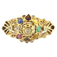 Vintage 18KY Inidan Fashion Hindu Multi-Gemstone Ring