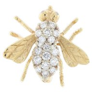 Vintage 14K Diamond Bumble Bee Brooch Pin