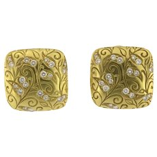 Antique French Designer 18KY Square Floral Diamond Earrings