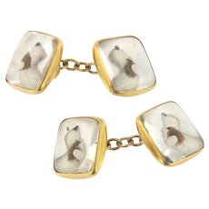 Vintage 18KY Gold Enos Richardson Essex Crystal Dog Painted Chain Cufflinks