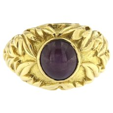 Vintage 18KY Gold Star Ruby Unisex Ring