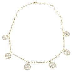 Designer 18KY Gold Chain Diamond Pendant Necklace Choker