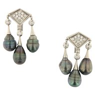 Antique Triple Tahitian Pearl and Diamond Dangling 18KW Earrings