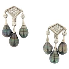 Antique Triple Tahitian Pearl and Diamond Dangling 18KW Earrings