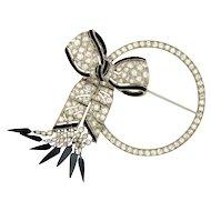 Vintage Art Deco Platinum Diamond Circle Ribbon Bow Brooch Pin