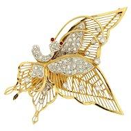 Vintage Handmade Fluttering Butterfly 18KY Gold Diamond Brooch Pin or Pendant